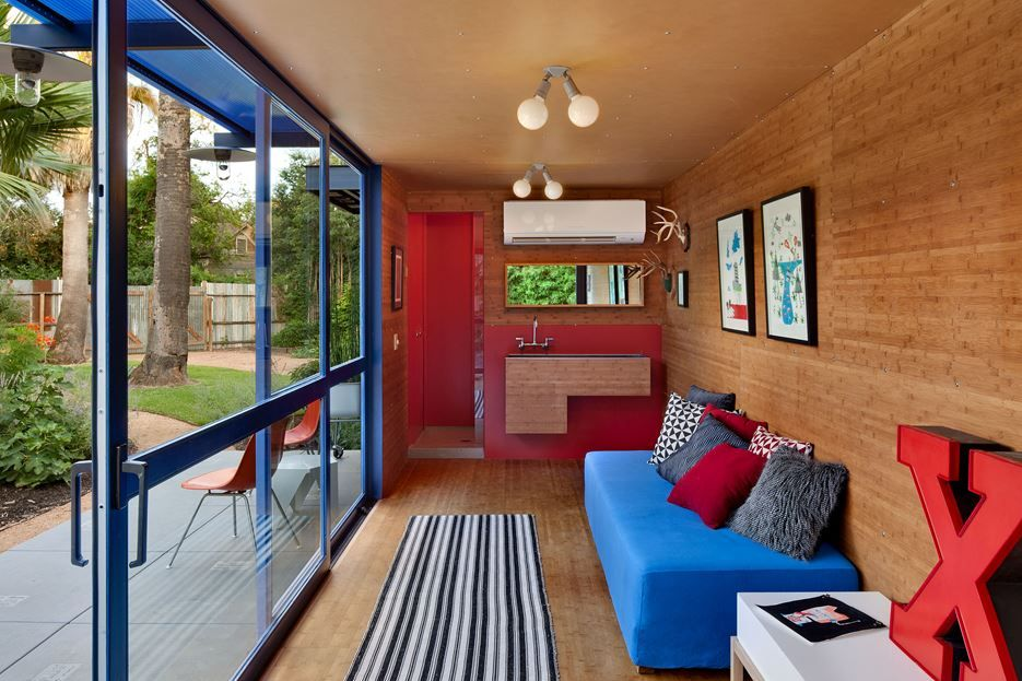 Wood paneling interior of container home