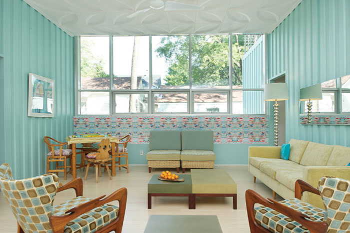 50s style shipping container inside decor