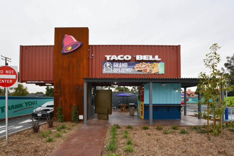 Taco bell shipping container drive thru