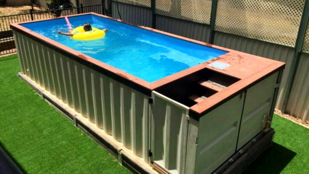 Shipping container pool features