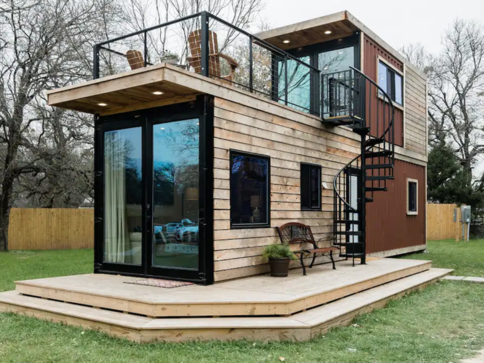 two-story container home, Waco Texas