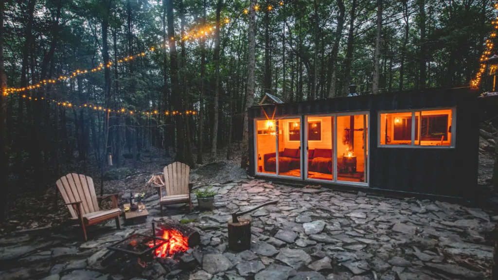 shipping container cabin, Catskills airbnb